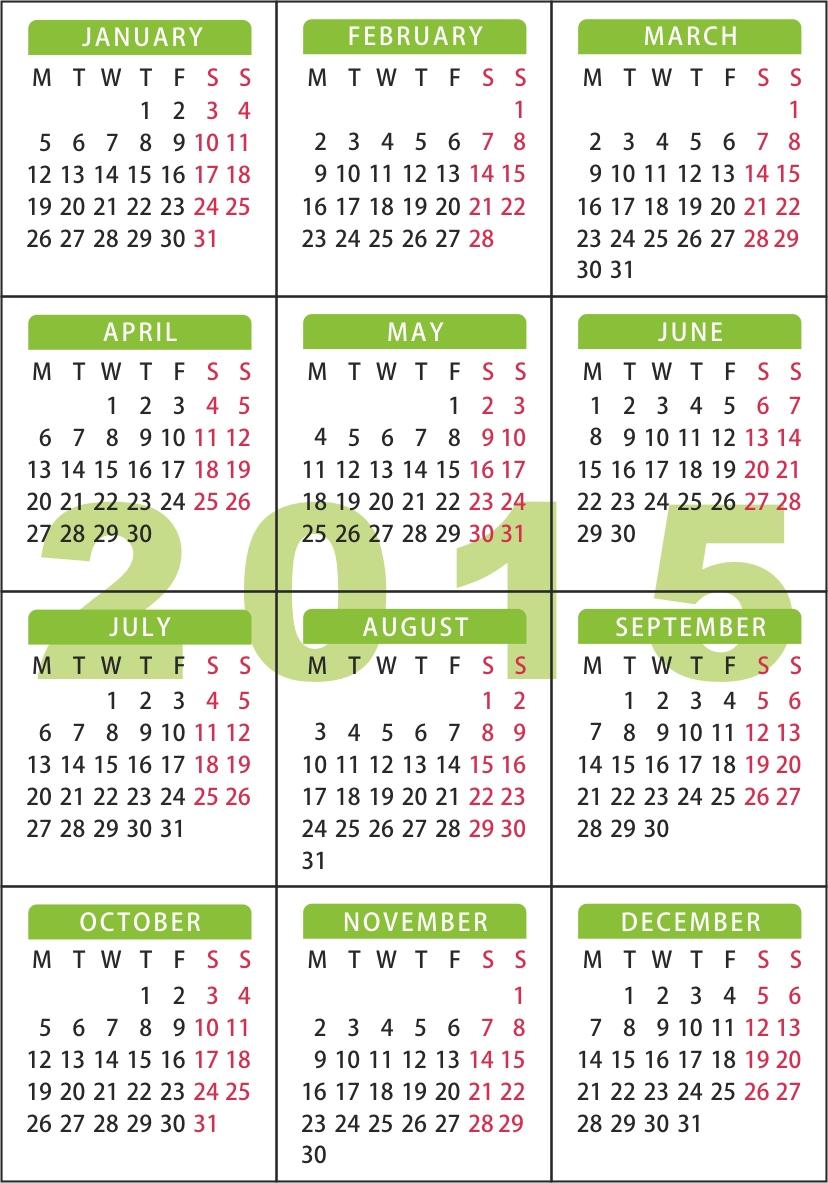 Calendar buzunar 2015 - 7 x 10 cm - engleza